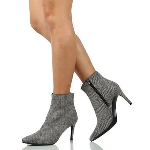 """Shoes - Black White Pointy Toe 3 1/4"""" Heel Ankle Boot"""